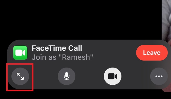 انتقل إلى ملء الشاشة=استخدام FaceTime على جهاز كمبيوتر