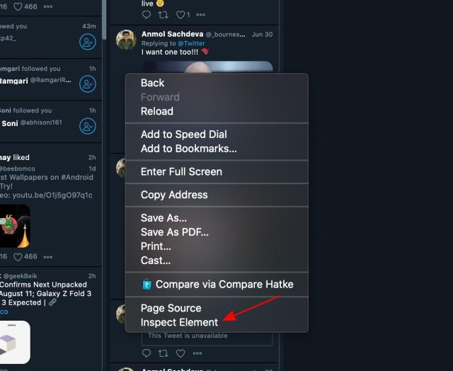 inspect element - tweetdeck preview