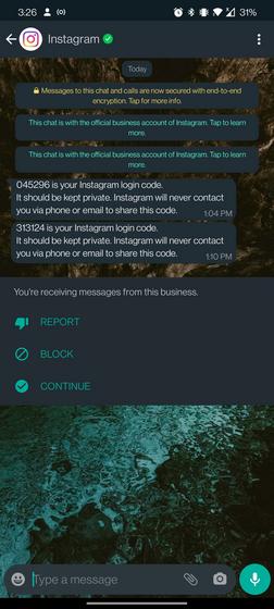 Instagram WhatsApp 2fa codes