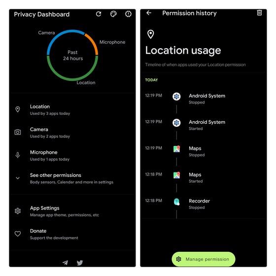Standortnutzungsdiagramm Android 12-Datenschutz-Dashboard