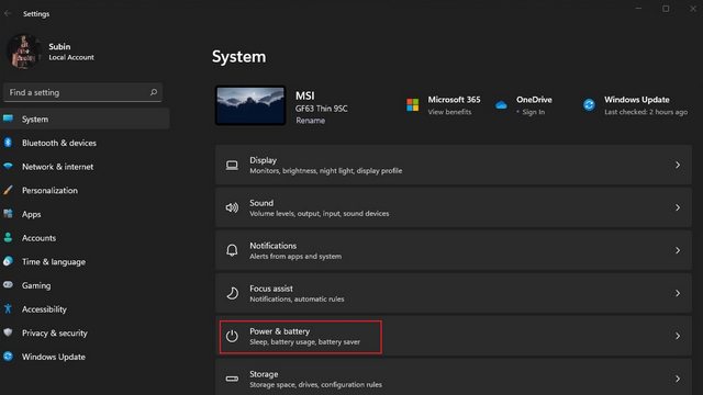 power and battery settings windows 11