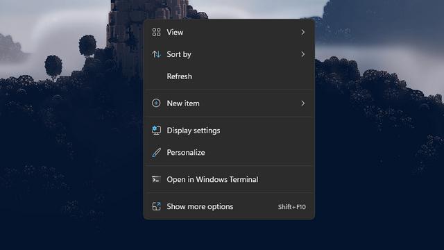 refresh option in primary right click menu windows 11