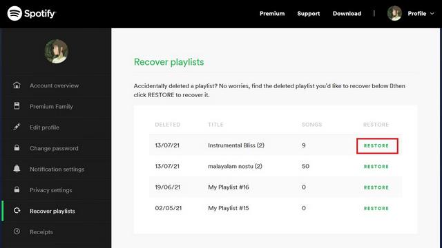 restore spotify playlist