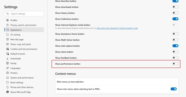 Leistungsschaltfläche anzeigen - Microsoft Edge