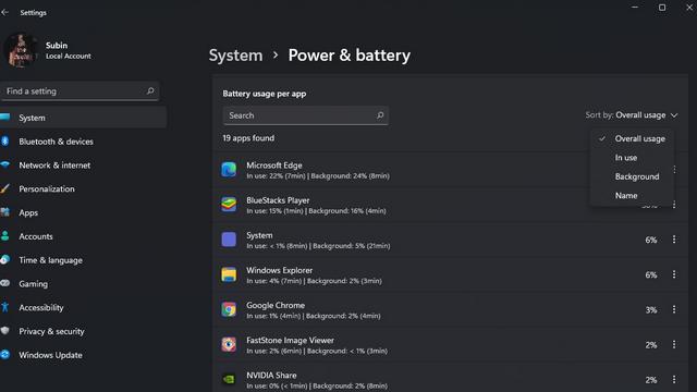 sort battery usage per app