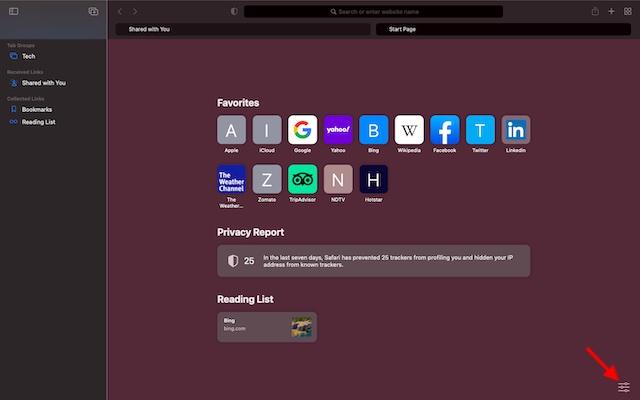 three horizontal lines - install Safari Browser on macOS Big Sur