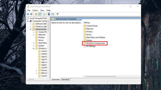 Windows-Komponenten gpedit