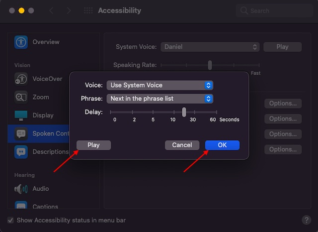 Adjust speak annoucements feature on Mac - How to Enable Announce Alerts on Mac