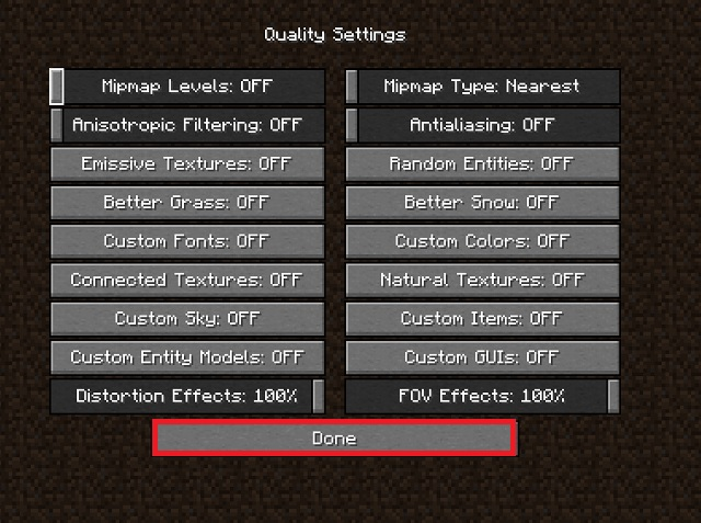 Best Minecraft Quality settings for FPS