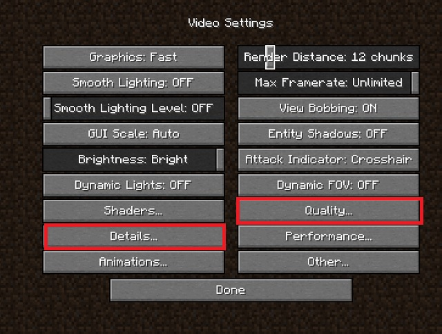 Best Minecraft Video settings for FPS