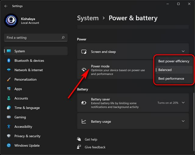 Modifica le impostazioni della modalità di alimentazione in Windows 11