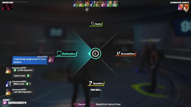 Fortnite Impostors chat options