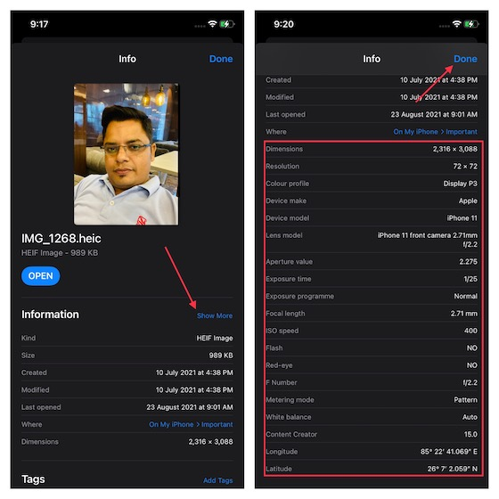 Check the EXIF metadata of an image with files app