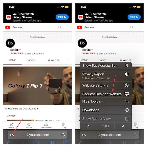 Выберите опцию Request Desktop Website - используйте режим YouTube «картинка в картинке» (PiP) на iphone