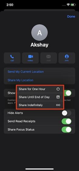 Выберите, как долго вы хотите делиться своим текущим местоположением - Поделитесь своим текущим местоположением в iMessage на iPhone