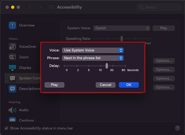 Customize speak annoucements settings on Mac - How to Enable Announce Alerts on Mac