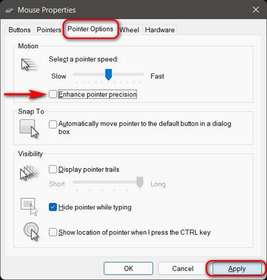 Disable Mouse Acceleration in Windows 11