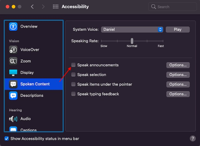 Disable Speak Annoucements on Mac