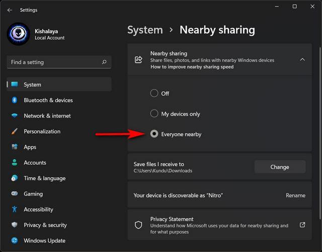Activer le partage à proximité sur Windows 11