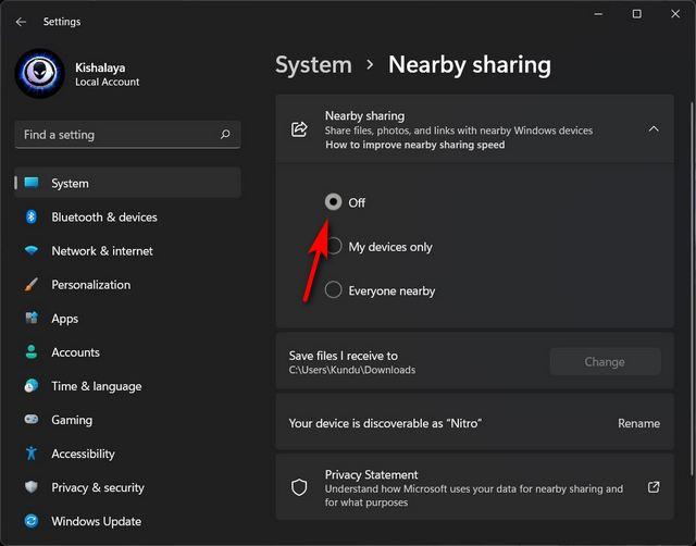 Désactiver le partage à proximité sur Windows 11