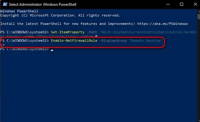 Включение удаленного рабочего стола в Windows 11 через PowerShell