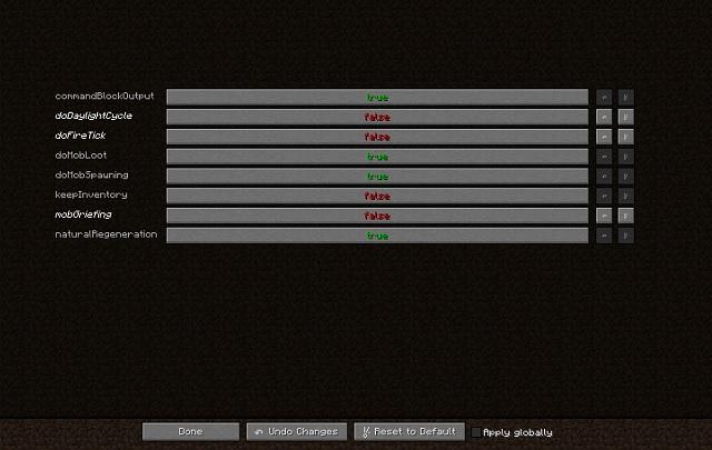 Global GameRules Minecraft Mod