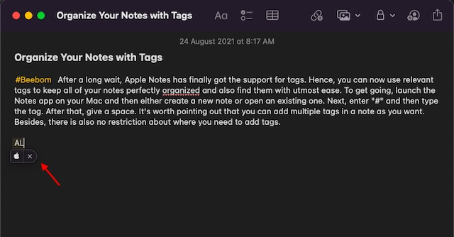 Input Apple logo on Mac