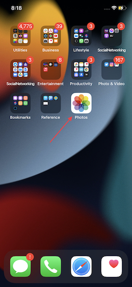 Open Photos app on iPhone and iPad