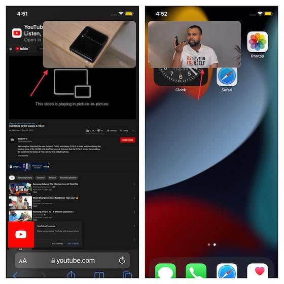 Воспроизведение видео с YouTube в режиме «картинка в картинке» на iPhone и iPad