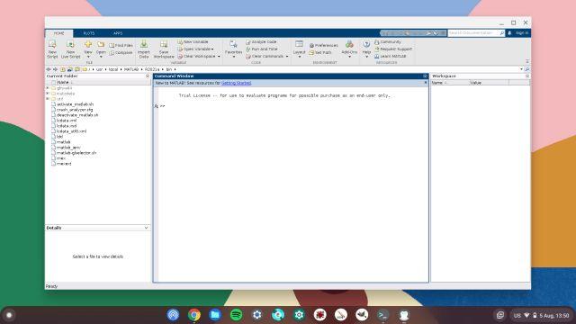 matlab running on linux in chromebook