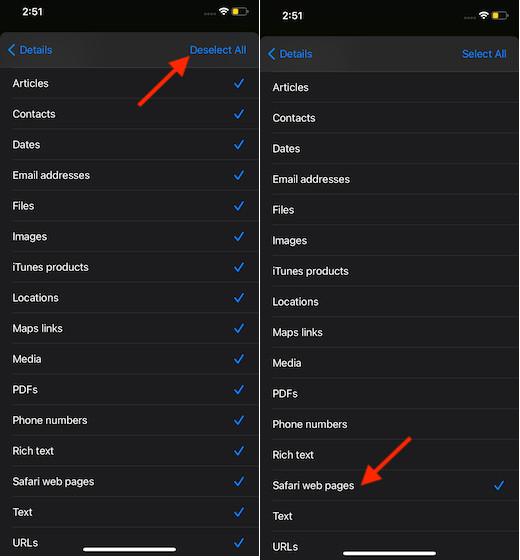 Выбрать-Safari-web-страницы-в-ярлыках