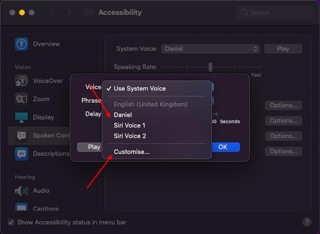 Select Siri voice