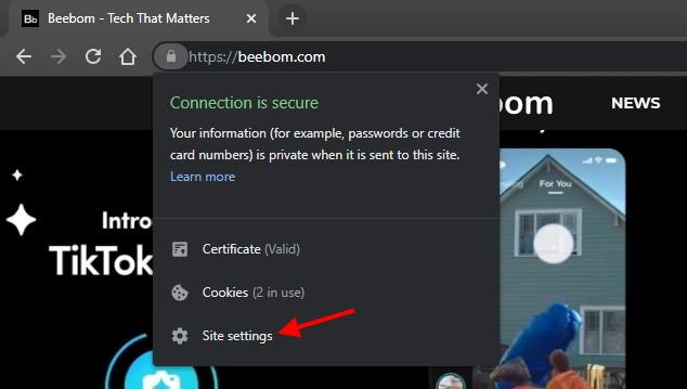 chrome privacy Site settings