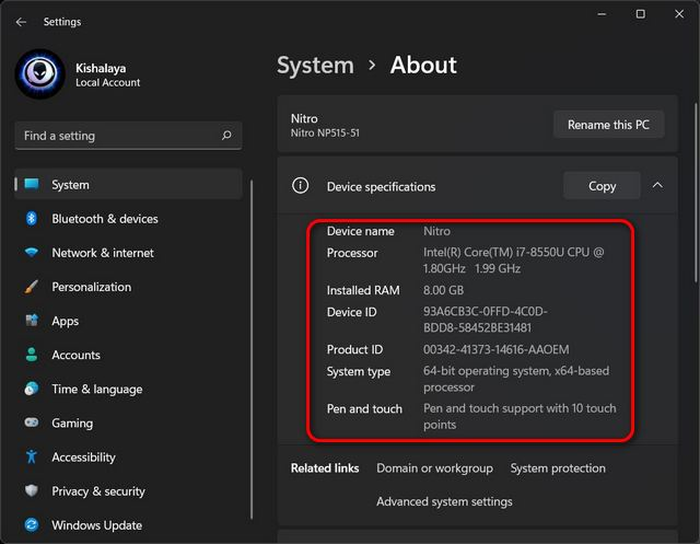 Check Hardware Specs and Configuration of Windows 11 PC