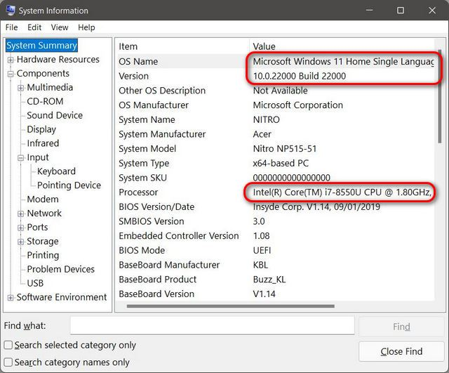 System Information Check Hardware Specs and Configuration of Windows 11 PC