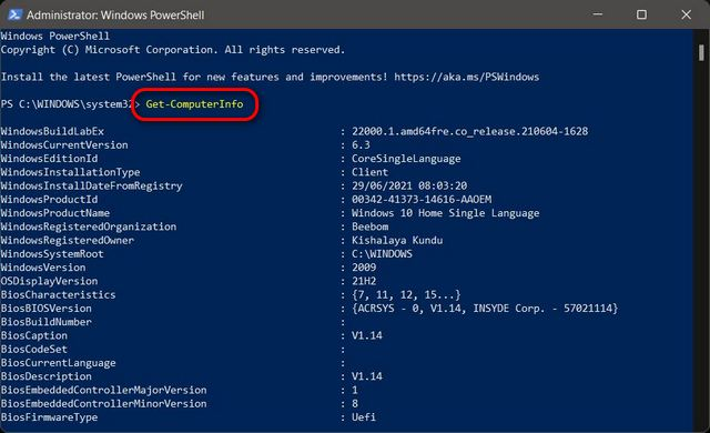 PowerShell Check Hardware Specs and Configuration of Windows 11 PC