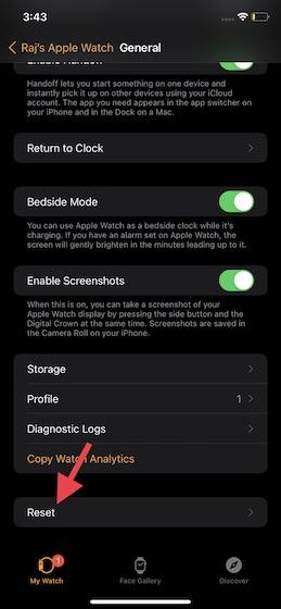 Tap on Reset in Apple Watch app