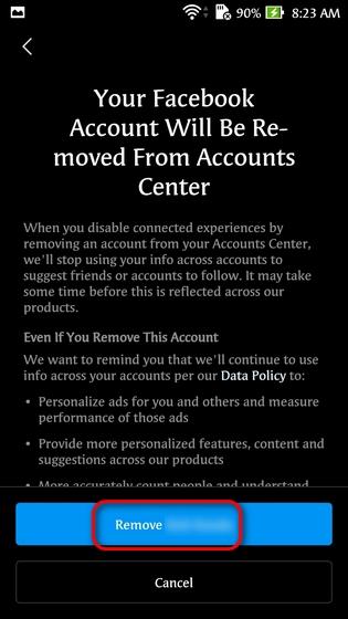 Unlink Facebook and Instagram Using the Instagram App