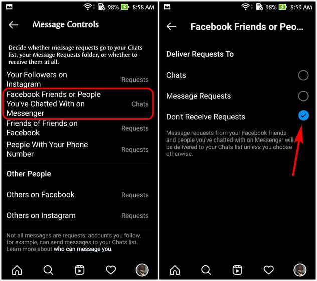 Unlink Instagram and Facebook Messenger DMs