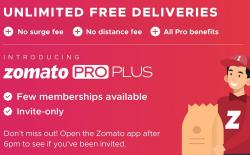 """Zomato Introduces New Invite-Only """"Pro Plus"""" Plan Including Unlimited Free Deliveries"""