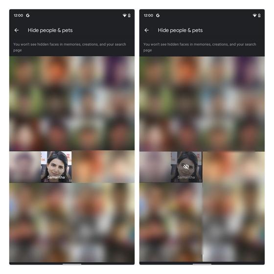 hide people from google photos memories