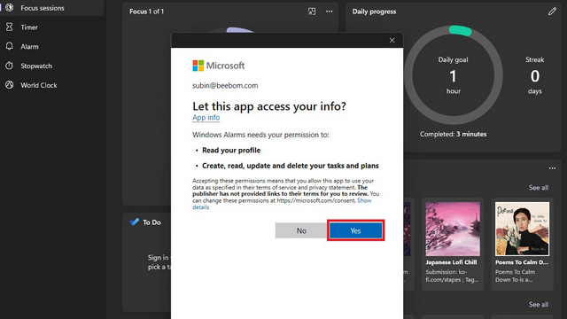 link alarms to msft account