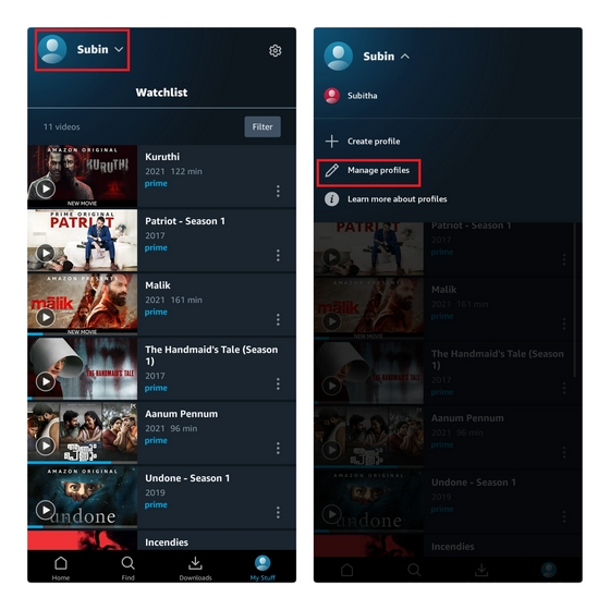 prime video android manage profiles