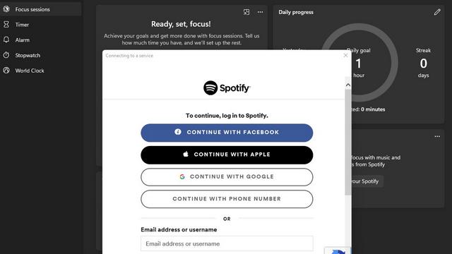 spotify login windows clock