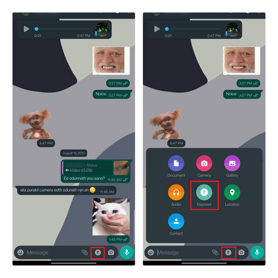whatsapp pay chat shortcut
