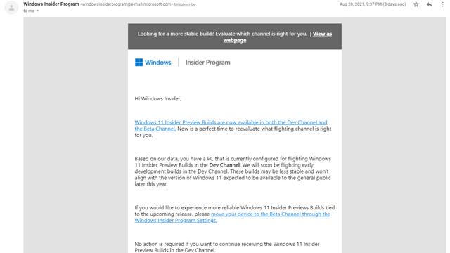 windows 11 insider program mail