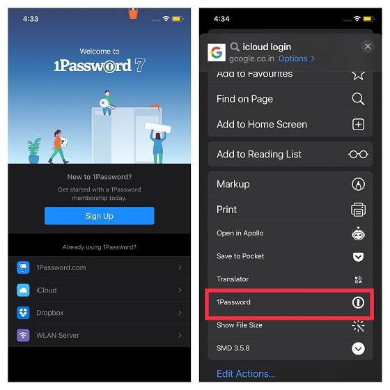 1Password Safari extension for iPhone