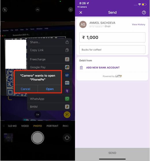 iPhone Camera App UPI payments ios 15