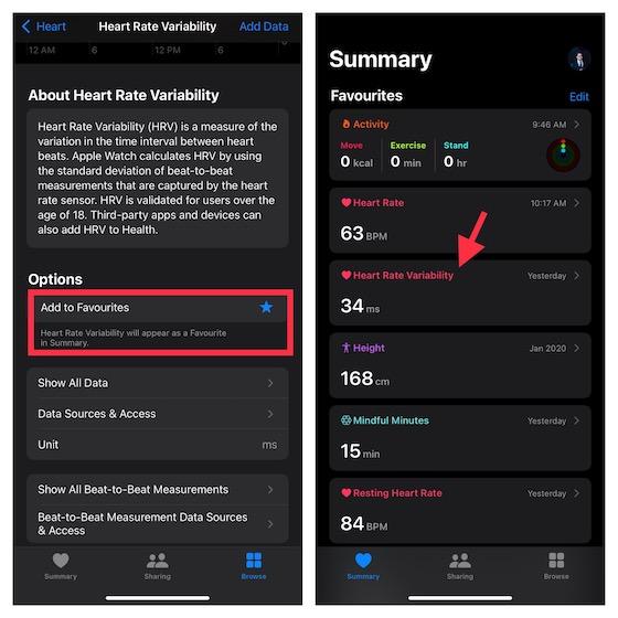 Ajouter HRV au résumé dans l'application Apple Health