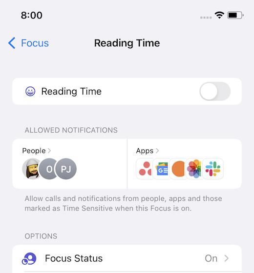 Customize a Focus in iOS 15
